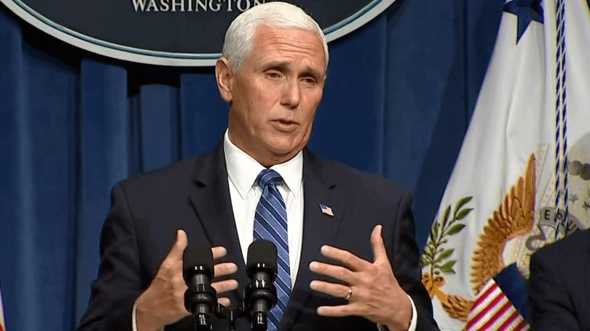 Vice President Pence speaks at coronavirus task force.