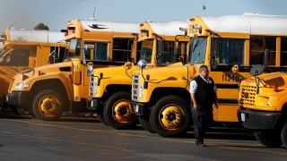 Row of LAUSD school buses