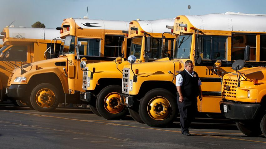 Row of LAUSD school buses