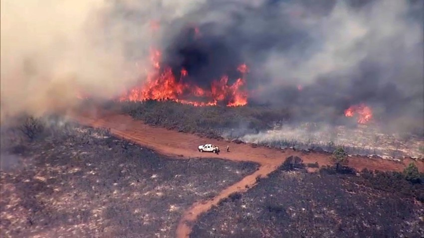 A fire burns in Napa County.
