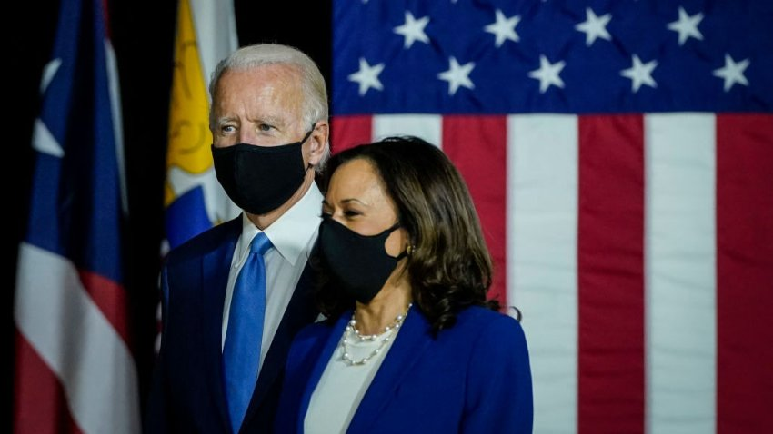 WILMINGTON, DE - AUGUST 12: Democratic presidential candidate former Vice President Joe Biden and his running mate Sen. Kamala Harris (D-CA) arrive to deliver remarks at the Alexis Dupont High School on August 12, 2020 in Wilmington, Delaware. Harris is the first Black woman and first person of Indian descent to be a presumptive nominee on a presidential ticket by a major party in U.S. history.