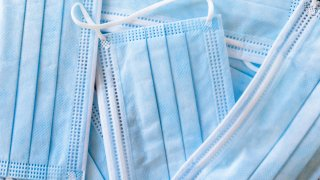 Blue and white facial masks