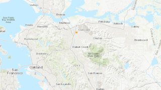 A map shows the location of a 3.8 magnitude earthquake.