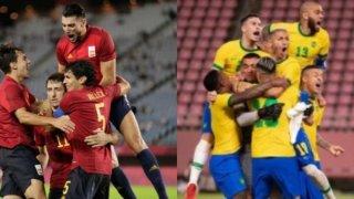 Fotografía de jugadores de España y Brasil que se disputarán el campeonato de Tokyo 2020